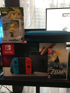 Nintendo Switch Neon + The Legend Of Zelda BOTW