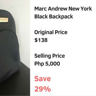 Marc Andrew New York Black BackPack