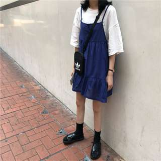 韓版女裝寬鬆A字娃娃裙無袖吊帶連衣裙百搭顯瘦純色中長裙(2色)