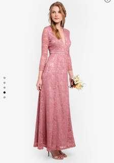 Brand new Pre Wedding / Bridesmaids V-Neck Pink Lace Dress 全新 伴娘裙 晚裝長裙 姊妹裙 適合婚攝外影裙 (Zalora)