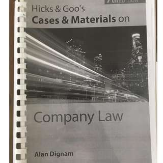 Company Law Textbook Hicks and Goo