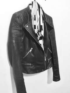 LEATHER BIKER JACKET | ZARA | SMALL