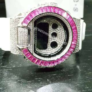 Customise pink gem stone+full detail customise diamind/inner diamond bezel customise/diamond button/one of a in the world/do check out our instrgram at gcustomisediamond for live video of this watch》
