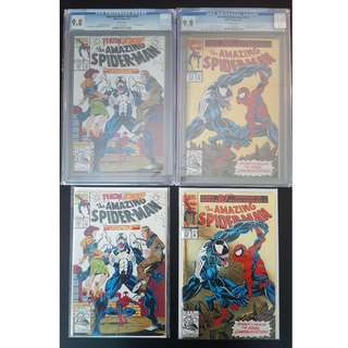 "Perfect Birthday/ Anniversary Gift for Husband/Boyfriend. Amazing Spider-Man #374,#375,#374 CGC 9.8,#375 CGC 9.8 (1993, 1st Series) Set of 4, 30th Anniversary Issue! VENOM!! ""One To Read,One To Keep"" Series."