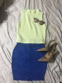 BUNDLE: Lime Green Mock Neck top and Blue Pencil Skirt (shoes and shades NOT included)
