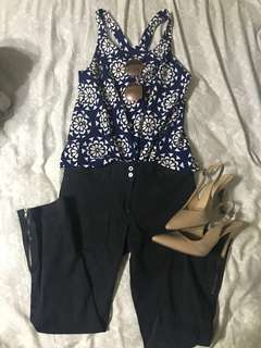 BUNDLE: Two tops plus black capri pants with adjustable hem (Shades and shoes NOT included)
