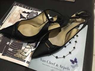 JIMMY CHOO modest heel italian leather pointed toe slingback shoes*WEEKEND SALE @1500.00