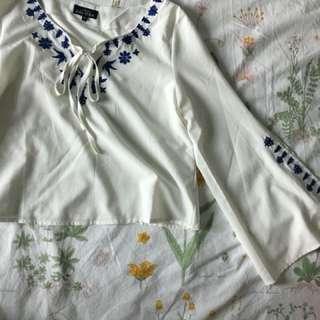 LOVE ZALORA embroidery boho long sleeved crop blouse