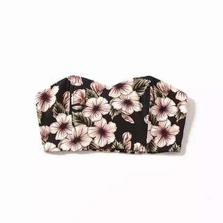 🚚 Po: black  pink floral printed tube bralet TOP