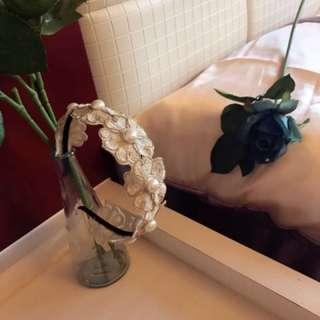正韓-公主風巴洛克造型雕花蕾絲髮圈