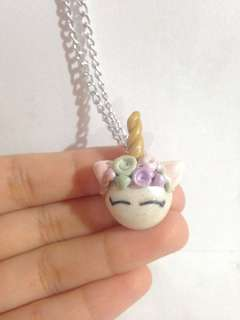 Polymer clay unicorn necklace