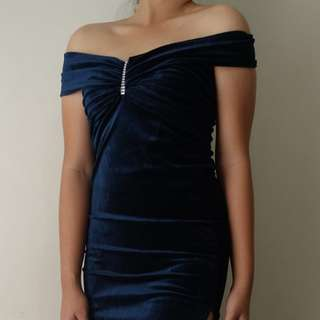 Dark Blue Velvet Gown