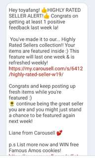 12th Highly rated seller notice😲 Thanks Carousell💌