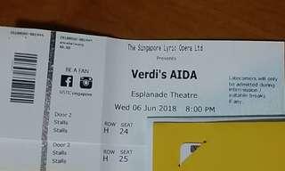 A pair of Verdi's AIDA tickets 6 jun 8pm CAT 3
