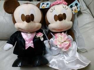 正版Disney 結婚公仔一對 米奇 米妮 mickey minnie 放耐左介意勿拍 購自日本