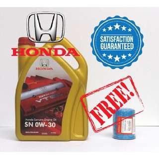 Honda Fully Synthetic SN 0-30W Engine Oil + free Honda Original Oil Filter