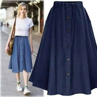 🍃Denim Garterized Button Midi Skirt