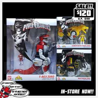 Mighty Morphin Power Rangers MMPR Legacy Zord with Figure Collection - T-Rex Zord + Sabertooth Tiger Zord + Mastodon Zord
