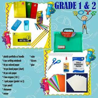 Grade 1 boys and girls school supplies