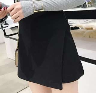 High Waist A line Wool Skirt Black XS