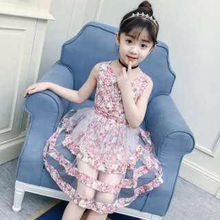 Pink Girls Floral Dress Summer Lace Cake Dress