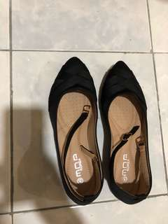 black ankle flats