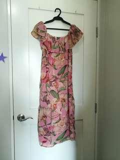 Pink Floral Off Shoulder Dress