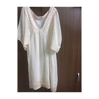 🚚 日系古著/ V領蕾絲雪紡洋裝