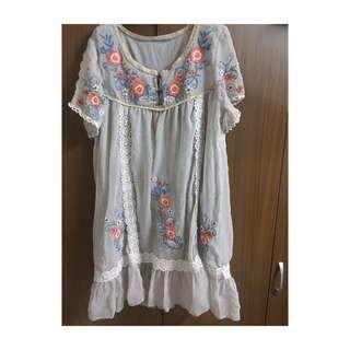 日系古著/ 蕾絲點點花刺繡洋裝