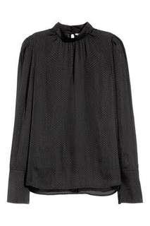 H&M BLACK HIGH NECK SATIN TOP