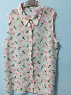 Cute parrot print blouse