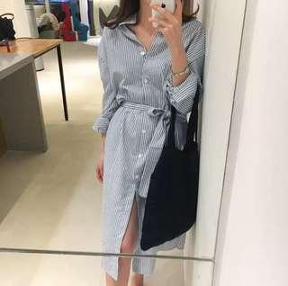 ✨現貨✌🏻側開衩條紋襯衫洋裝