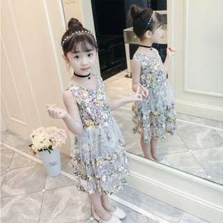 Yellow Girls Floral Dress Summer Lace Cake Dress