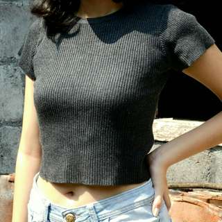 [NEGO] Crop Tee Rajut Grey