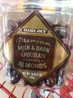 Trader joe's premium milk & dark chocolate covered almonds