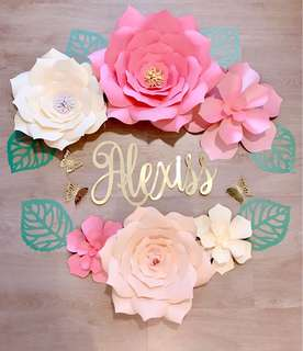 Paper Flower Florals with Name Banner