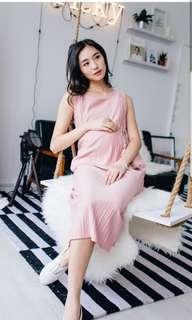 Pink Pleats Midi Nursing Dress
