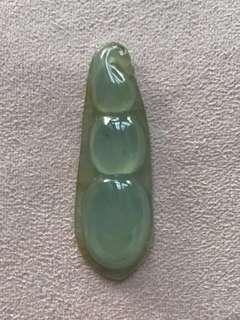 天然翡翠A貨玻璃種喜豆吊咀配證書