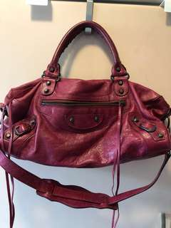 Balenciaga Classic part time twiggy burgundy leather bag 酒紅色真皮機車包手袋