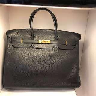 正品 90%新 Hermes Birkin 40 黑色金扣手挽袋
