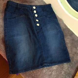 H&M fitted denim skirt