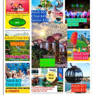 Garden by the Bay+Flower Dome+Cloud Forest with Other Cheap Discounted Attraction Tickets !!!