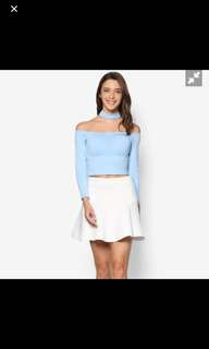 Lash By Zalora High Neck Cold and choker Shoulder Top