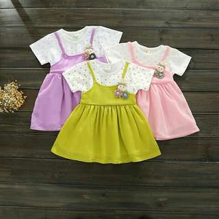 *FREE DELIVERY to WM only / Ready stock Kids dress each 6m-2yo as shown in design/color green 140, purple 120 130, pink 110 130 140. Free delivery is applied for this item.