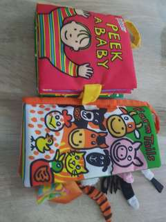 Cloth Book for babies - peek a baby and farm tails