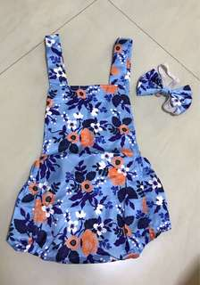 Lovely Floral Sleeveless Bodysuit with Headband for Baby Girl