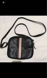 Snakeskin Crossbody Bag with Pink Detail