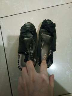 Wedges Sophie Paris black ribbon