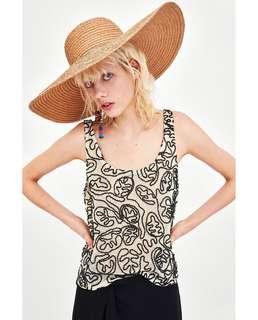 🚚 OshareGirl 05 歐美女士幾何圖騰網布立體編織背心上衣