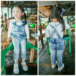 *FREE DELIVERY to WM only / Ready stock* Kids denim overall size 80 each as shown in design/color. Free delivery is applied for this item.